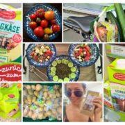 Kollage aus Fotos mit verschiedenen Lebensmitteln