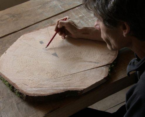 Mann zählt Jahresringe auf einer Baumscheibe