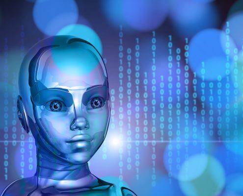 digitales Mädchen mit Computercodes im Hintergrund