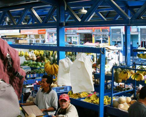 Markt unter Wellblechkonstrukt mit tropischen Früchten