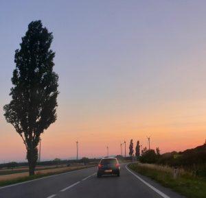 Straße durch landwirtschaftliches Gebiet, im Hintergrund Windräder
