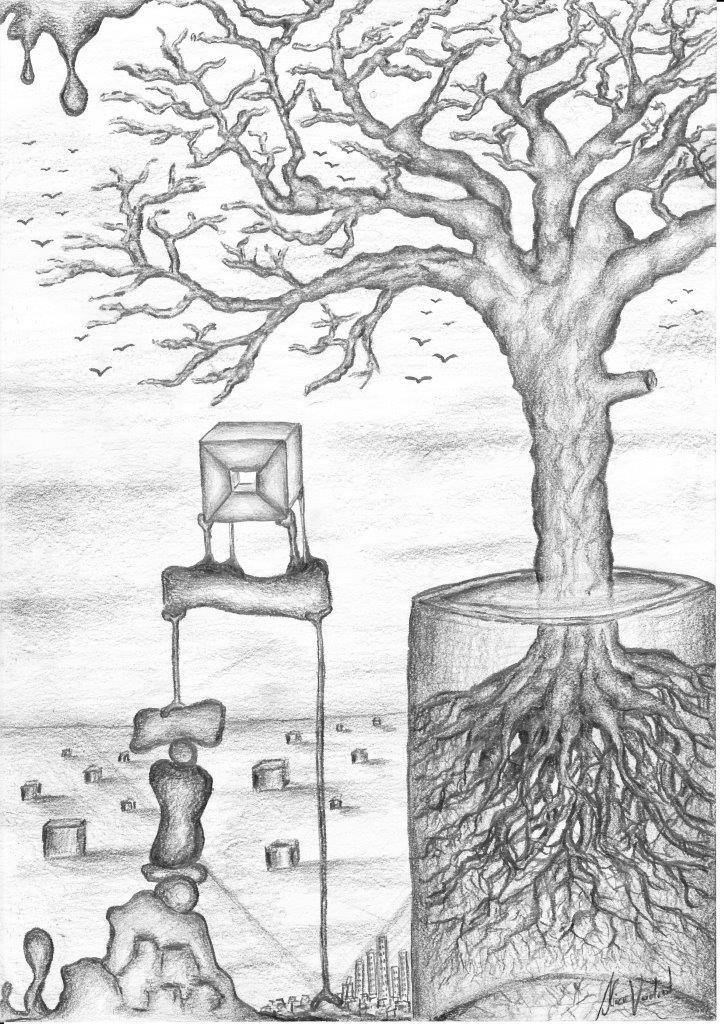 Surrealistische Zeichnung von einem Baum