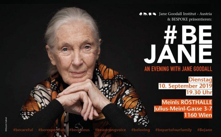 Einladung zu einem Abend mit Jane Goodall mit einem Porträt von ihr