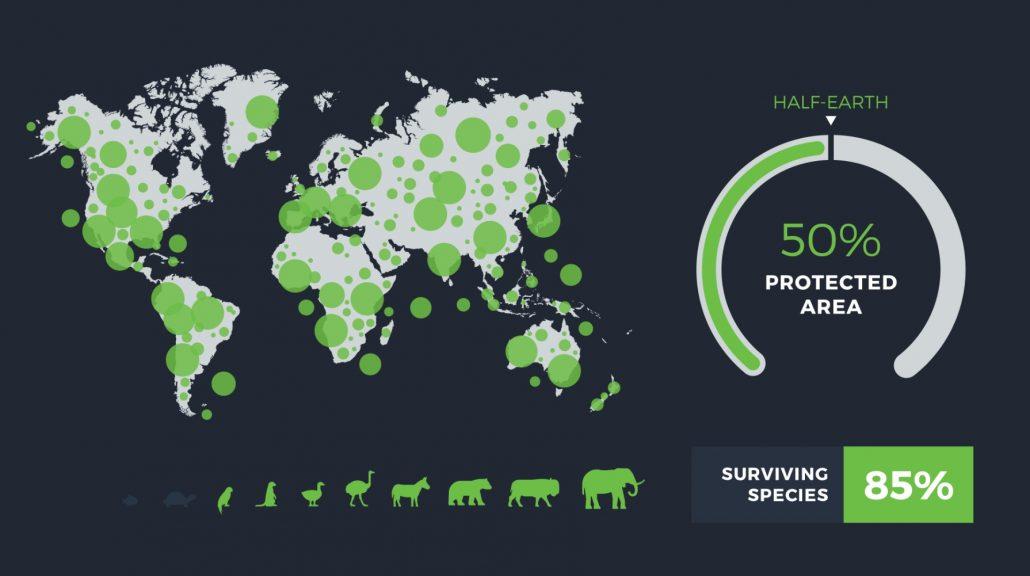 Abbildung: 85% der Arten könnte durch Half Earth Idee überleben