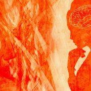 Gemaltes Bild in orange, Frau in Denkerpose und Gehirn grafisch sichtbar
